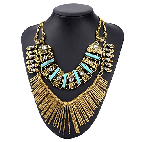 Ginasy Statement Necklace in Simulated Turquoise - Bohemian Jewelry Accessory Gift for Women in Antiallergic Alloy (Greek Goddess Gold (Greek Goddess Of The Moon Costume)