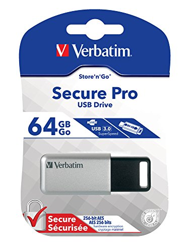 Verbatim 64GB Store'n' Go Secure Pro USB 3.0 Flash Drive with AES 256 Hardware Encryption,  Silver 98666 (Secure Aes 256)