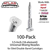 Atlas Pro Small Mixing Nozzles -Tips for 50ml/1.7oz Cartridges (3.5-inch 18-element Static Mixers) (100)