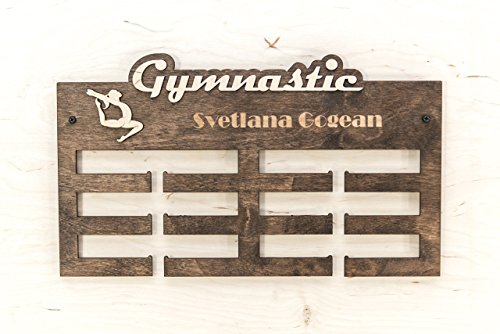 Wooden Medal Rack Gymnastics With Your Name Display 15.7x9.5x0.2 inches - Customized Medal Holder Brazilian Jiu-jitsu - Run - Karate - Judo - -
