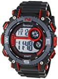 Armitron Men's 40/8284RED Sport Large Metallic Red Accented Black Resin Strap Chronograph Digital Watch, Watch Central
