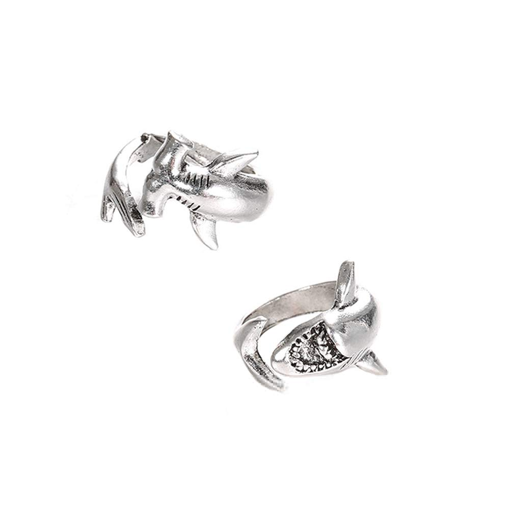 Acamifashion 2Pcs/Set Vintage Adjustable Alloy Shark Open Rings Unisex Party Jewelry Gift - Silver
