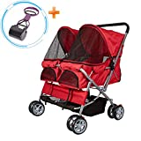 Cheap Lucky Tree Pet Stroller Twin Folding Dog Cat Carrier Travel Cart, Multiple Colors