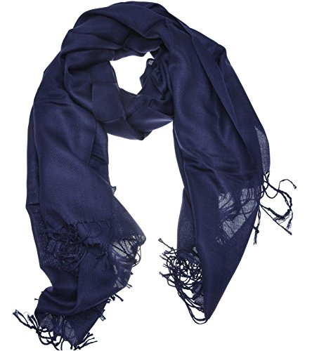 Hand By Hand Aprileo Women's Solid Pashmina Scarf Wrap Shawl Bright Shining Scarf [Navy Blue.](One Size)