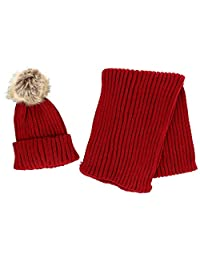 CTM® Girl's 4-14 Ribbed Cuff Cap with Pom and Matching Scarf Set, Red