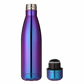 RBHT Botella de Agua de Acero Inoxidable con Forma de Bolo, Unisex Adulto, Morado