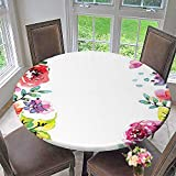 Mikihome Round Tablecloths Decor Collection Floral Frame with Summer Flowers Roses Natural Picture Pink Navy Blue or Everyday Dinner, Parties 63''-67'' Round (Elastic Edge)