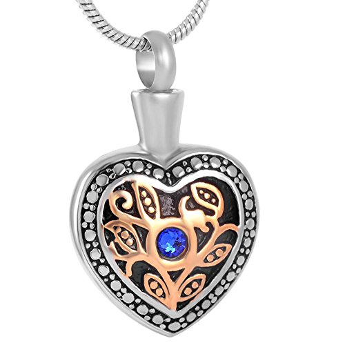 Urn Etch (SS8674 Blue Stone Tree Etch Heart Memorial Necklace Jewelry Stainless Steel Ash Urn Pendant Necklace)