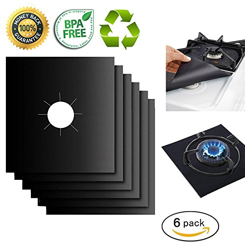 Gas Range Protectors Liner Covers Reusable Gas Stove Burner Covers, 10.6 X 10.6, Double Thickness 0.2MM, Non-Stick, Fast Clean, FDA approved (6 packs)