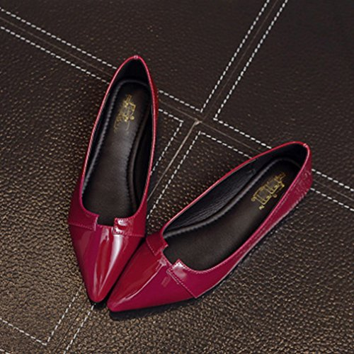 Mocassini Da Donna Mocassini A Punta Piatta Slip-on Classic Casual Ballet Walking Dress Scarpe Mocassino Rosso Scuro