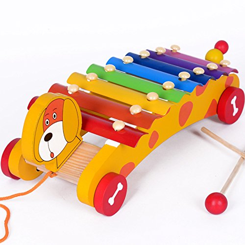 FunnyGoo Pull Along Dog toys Puppy with Octave Wooden Hand Knock Piano Toys Children Musical Instruments