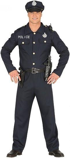 shoperama de 4 Piezas para Hombre Disfraz de Police Officer Cop Policía Camisa Pantalones Cinturón Sombrero: Amazon.es: Juguetes y juegos