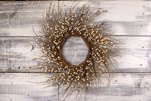CWI Gifts Pip Berry Twig Wreath, 22-Inch, Ivory/Vanilla by CWI Gifts
