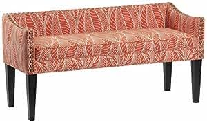 Leffler Home 13000-02-20-01 Whitney Transitional Long Upholstered Bench, Coral