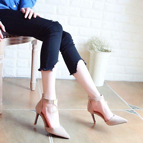 Xue Qiqi Pumps Sandalen Tanz Schuh und Das Vielseitige Frauen Schuhe mit Hohen Absätzen Feine Metallspitze Licht - Schuhe Reißverschluss Einzelne Schuhe Frauen
