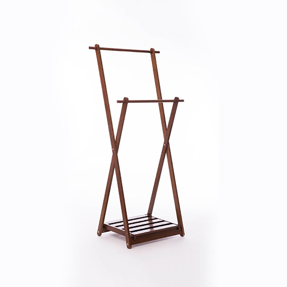 BROWN ZEMIN Floor Standing Coat Rack Clothes Hat Stand Hanger 1 Layer shoes Shelf 2 Poles Solid Wood, 2 colors (color   Brown)