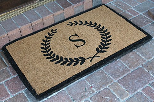 A1 Home Collections FM2003S Divina Handwoven Extra Thick Leaf Doormat Monogrammed S,Large(24