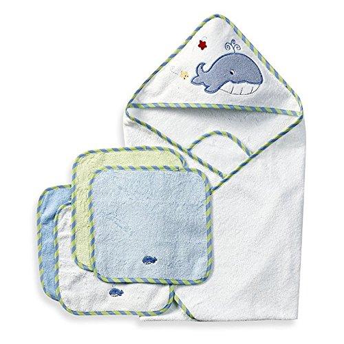 Spasilk 100% Cotton Hooded Terry Bath Towel with 4 Washcloths, Blue