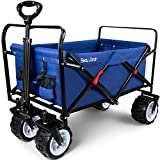 Folding Pull Wagon Cart 300 Pound Capacity Collapsible Utility Camping Grocery Canvas Fabric Sturdy Portable Rolling Lightweight Buggies Outdoor Garden Sport Picnic Heavy Duty Shopping Wide Wheels