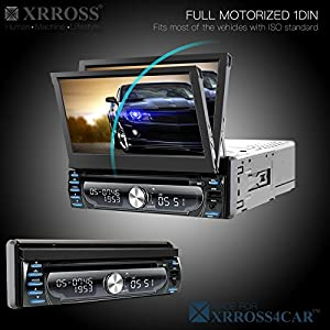 XRROSS Android 6.0 DVD Radio Audio Player +GPS Navigation+7inch Touch Screen+WIFI+Bluetooth+1GB/16GB+Quad Core CPU+DVR+SWC +Phone Mirror +Full Motorize Detachable Panel+Dual Camera Support