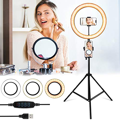 GreenSun LED Ring Light with Tripod Stand, 12 inch Dimmable Ring Light with 3 Color Modes and 10 Brightness Makeup Ring Light for Camera Vlog, Makeup, YouTube, Video Shooting, Selfie With Remote