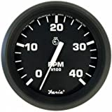 Faria Beede Instruments 32842 4 in. Euro Black Tachometer - 444;000 RPM Diesel44; Mechanical Takeoff & Var Ratio Alt