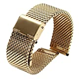 18mm Polish Shinning Metal Mesh Watch Replacement Straps Gold Milanese SS Bands Inox Steel for Mens Watches