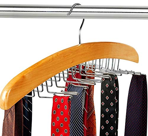 Tie Hanger -Flex Cloth Hanger with 12 Hooks for Ties, Belts and Clothing Accessories for Men and Women -360° Rotating Swivel Hook-Beautiful Walnut Wooden Finish with Chrome Accents-By FloridaBrands ()