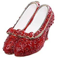 Ruby Slipper Bejeweled Silver Plated Jewelry Box Faberge Collection Shoe Trinket Box Metal Vintage Decoration Appr. Product Size :L1.625*W1.75*H3inch(L4.2XW4.5XH7.8cm)(There is 1~2cm dimensional error because of handmade measurement) 1) Mater...