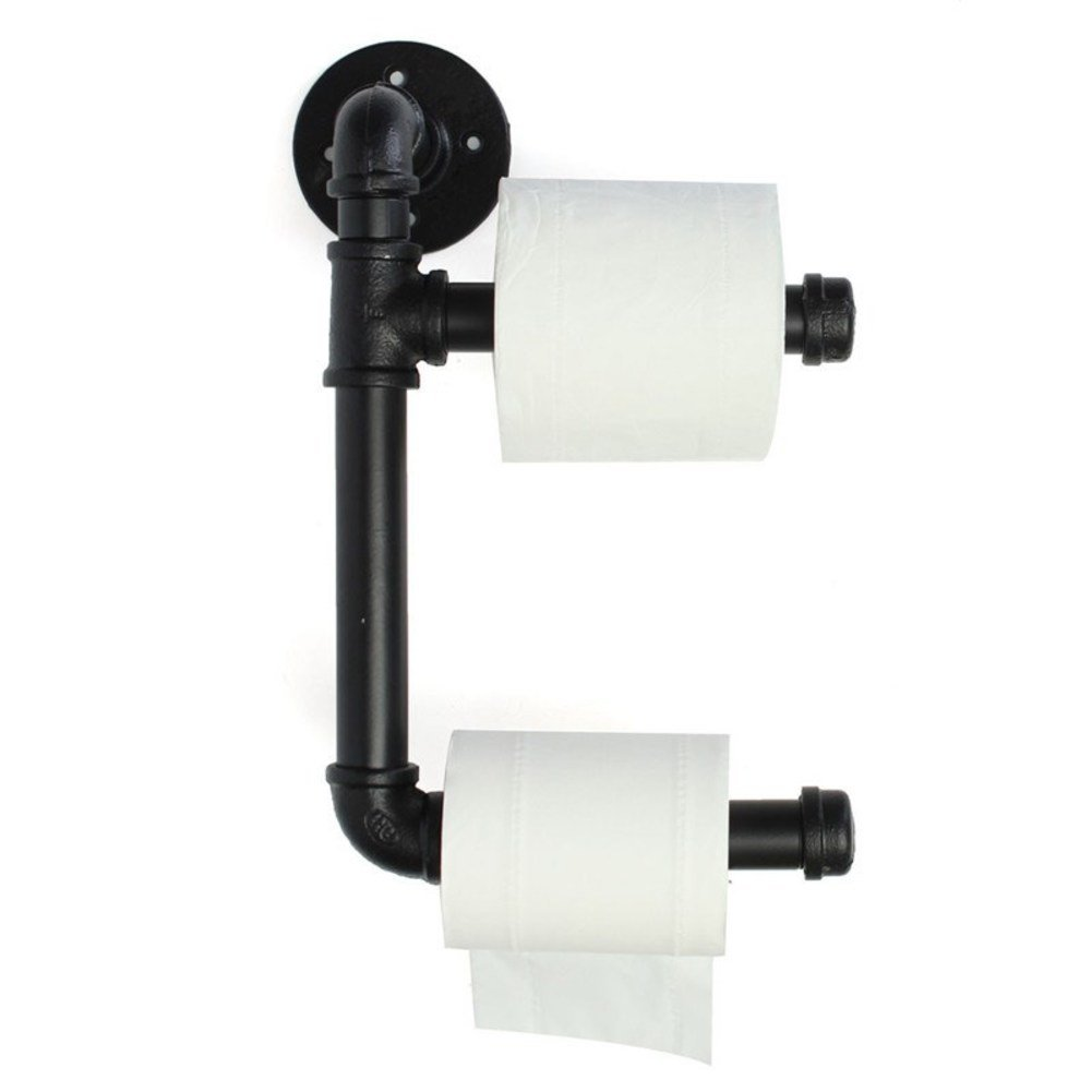 WYMNAME Black Toilet Paper Holder Industrial Urban Style Iron Pipe,Wall Mounted Towel Rack Tp Holder
