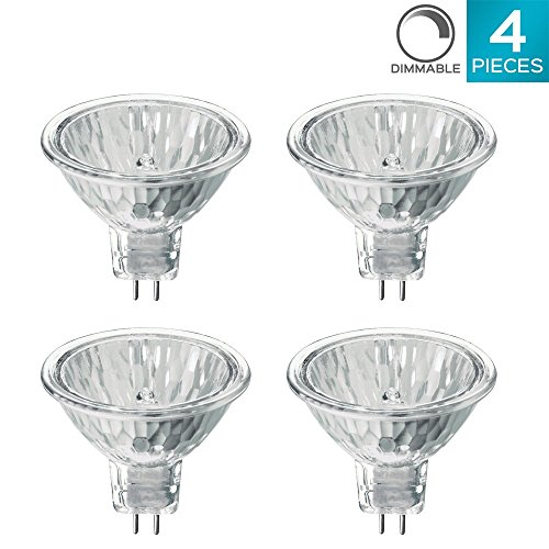 Luxrite LR20250 (4-Pack) 50WMR16/FL EXN 50-Watt Halogen Pin Base Light Bulb, 12V MR16 Halogen Bulb, Glass Cover, Dimmable, 600 Lumens, GU5.3 Bi-Pin Base - 100w 12v Mr16 2 Pin