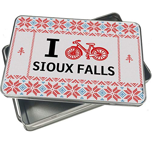 NEONBLOND Cookie Tin Box I Love Cycling City Sioux Falls Vintage Christmas Pattern ()