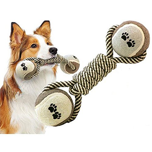Elegant Dumbbell Rope Tennis Pet Chew Toy Puppy Dog Clean Teeth Training Tool (Smith Kennel Dog Built)
