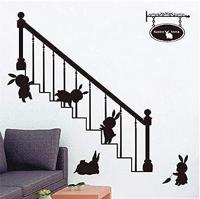 JXTK Escalera Conejo Tallado extraíble Personalidad Pegatinas de Pared Sala de Estar sofá Dormitorio Pared 50x70 cm: Amazon.es: Hogar