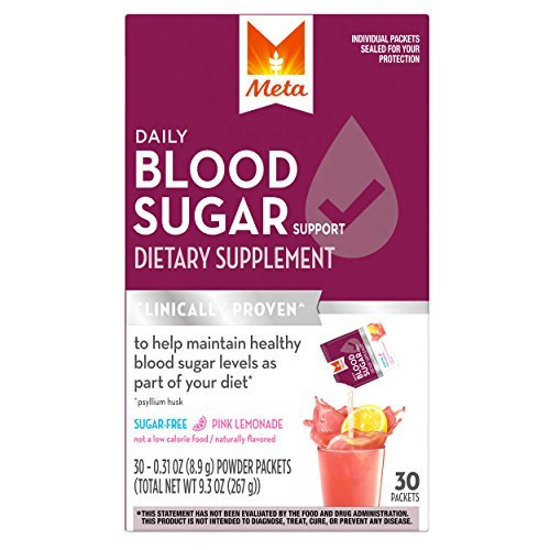 Dietary Support - Meta Daily Blood Sugar Support Dietary Supplement with Psyllium Husk, Sugar Free Pink Lemonade Smooth Powder, 30 Packets by Metamucil