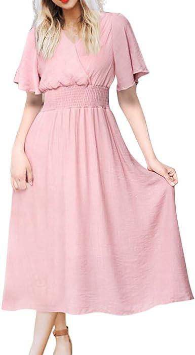 AIFGR Falda de señora Damas Vestido Largo de Manga Corta con ...