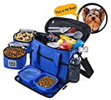 Dog Travel Bag – Week Away Tote For Small Dogs – Includes Bag, 2 Lined Food Carriers, Placemat, and 2 Collapsible Bowls (Blue)