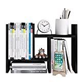 Beeiee Wood Desktop Bookshelf Adjustable Desktop Bookshelf Adjustable Countertop Bookcase Office Supplies Wood Desk Organizer Accessories Display Rack (Dark Walnut)