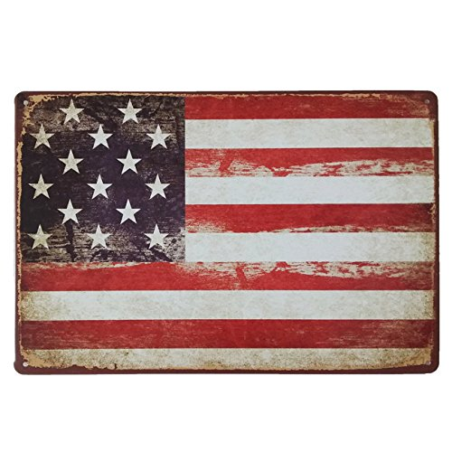 Joyful Store American Flag Logo Retro Vintage Metal Tin Signs Wall Plaque Poster Bar Pub Home Wall Decor 11.8
