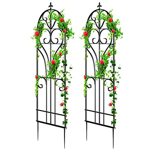 "Amagabeli 2 Pack Large Garden Trellis for Climbing Plants 71"" x 19"" Heavy Duty Rustproof Black Iron Plant Trellis for Potted Plants Support Tall Wall Metal Trellis for Rose Vines Vegetables Cucumber"