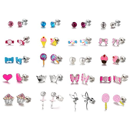 - 20 Pairs Stainless Steel Post Small Cute Multiple Candy Cake Pink Heart, Animals, Pearls, Butterflies Ballerina, Bows, Stud Earrings Set