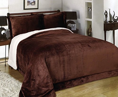 Flannel down alternative sherpa 3pc set blanket 90'Hx90'W with 2 shams 20'26' , Hypoallergenic, duvet insert, prevent Dust Mites and Allergens ,Full/Queen bed Comforter set, chocolate