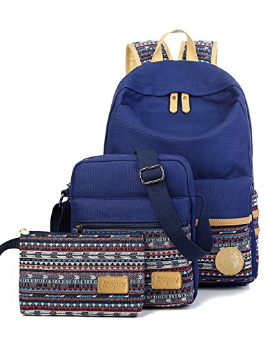 Leaper Casual Style Lightweight Canvas Laptop Bag Cute School Backpack Shoulder Bag Pencil Case 3PCS Set(Navy Blue)