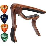 Guitar Capo Picks Guitar Accessories 6 Strings Guitar Ukulele Capos with Free Guitar Picks Wood Grain (GC12)