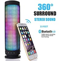 2017 Newest LED Bluetooth Speakers AIYIBEN Colorful Portable Wireless Bluetooth 4.0 Speaker LED Light Visual Display Mode Powerful Sound Built-in Mic Support Hands-free Function TF Card