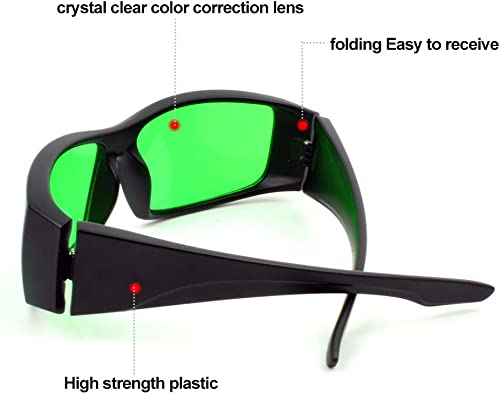 Derlights Indoor Grow Light Glasses, Growing Hydroponics LED Grow Room Safety Glasses with Anti UV Color Correction, Protective Goggles for Intense LED Lighting Visual in Greenhouse