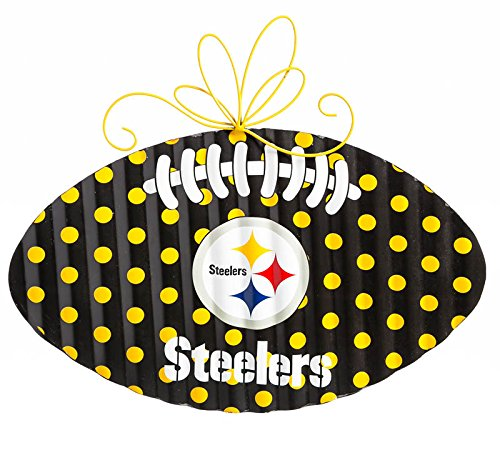 NFL Pittsburgh Steelers Corrugated Metal Football Door Decor, Small, Multicolored by Team Sports America