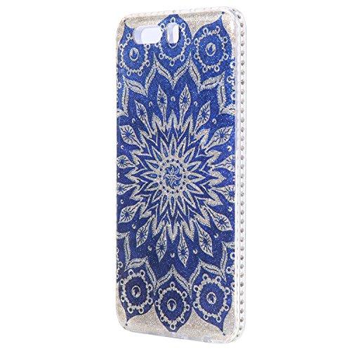 Funda Case Huawei P10 plus silicona,Ukayfe Ultra Delgado Flexible Suave TPU Gel Trasera Bumper Protector Carcasa Para Huawei P10 plus,Carcasa de 360 Protección con Pintura de Colores para teléfono por Flores azules