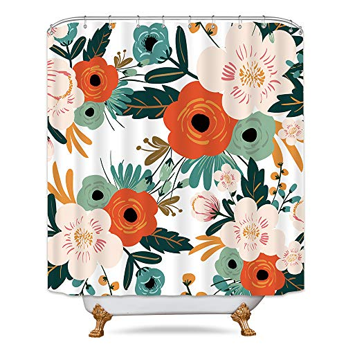 Riyidecor Spring Flower Shower Curtain Set Season Floral Green Bathroom Decor Fabric Panel Polyester Waterproof 72x72 Inch with 12 Pack Plastic Shower Hooks