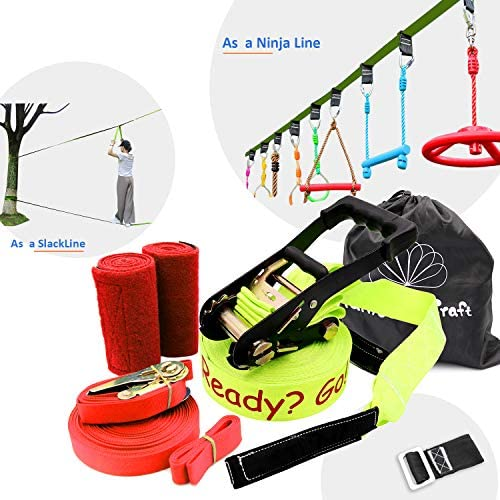 Rainbow Craft Ninjaline Slackline for Obstacle Course Set with Removable Loops for Kids Backyard Outdoor Play Blue Color